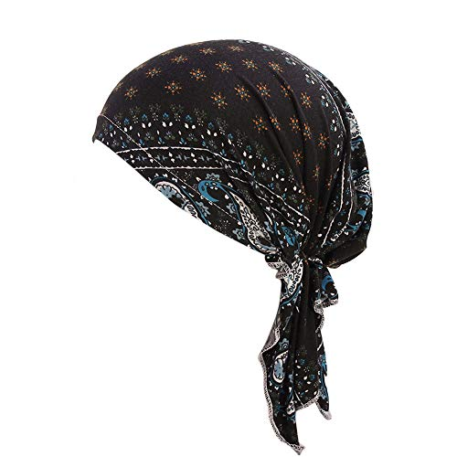 Lazzboy Kopftücher Frauen Rüschen Krebs Chemo Hut Mütze Schal Turban Kopf Wrap Cap Hat (B)