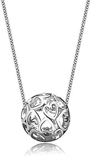 FACAIBA Necklace Woman Man Personality Necklace 925 Sterling Silver Jewelry Romantic Heart Shaped Hollow Transfer Ball Pendant Necklace for Women Men Gifts
