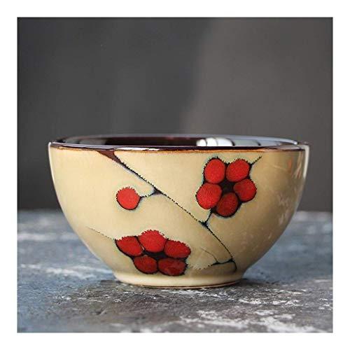 XiYou Cuenco de cerámica japonés Creativo pequeño Cuenco de arroz Pintado a Mano Flor Cuenco Hecho a Mano Horno Restaurante vajilla Personalidad y Estilo Cuenco