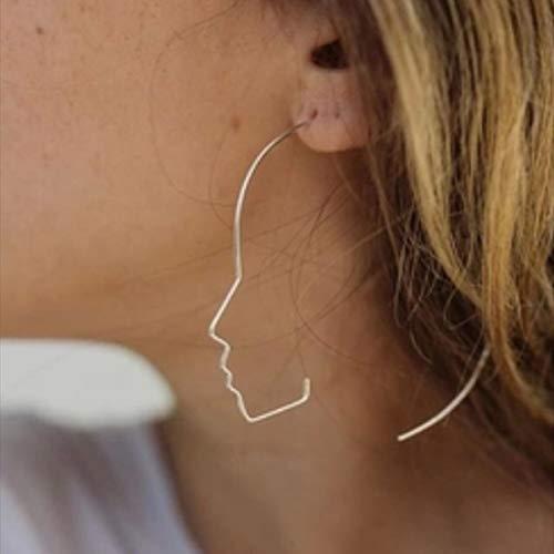 DFDLNL Geschenke Ohrringe Kurze Artsy Face Ohrstecker für Frauen Abstract Outline Ohrringe BijouxSilber