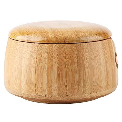 Yunnyp Wol Houten Opslag Kom, Bamboe Garen Bowl Garen Houder met Verwijderbare Deksel voor Breien en Haakvideo