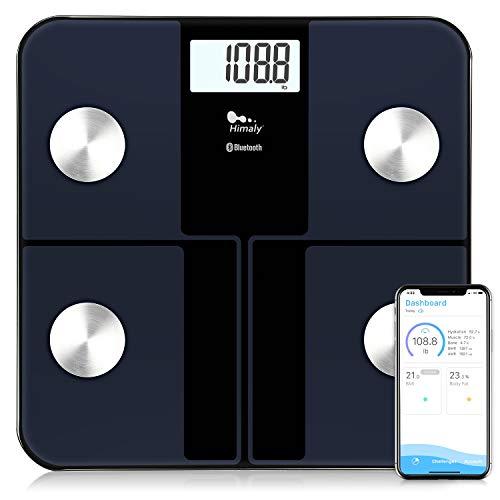 Himaly Körperfettwaage Digitale Personenwaage Bluetooth Körperwaage mit App für Körperfett, BMI,Muskelmasse, Körperwasser, Knochenmasse, Kalorien,viszerales Fett Badezimmerwaage bis 180KG,Schwarz