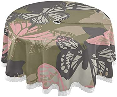VIGTRO Ranking Popular products TOP3 Unique Butterfly Camouflage Round Tablecloth with Umbrell