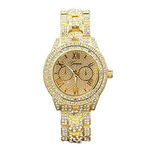 YZOTEK Reloj de pulsera de cuarzo clásico analógico con cristales brillantes, de acero inoxidable, para hombres y mujeres, Dorado.,