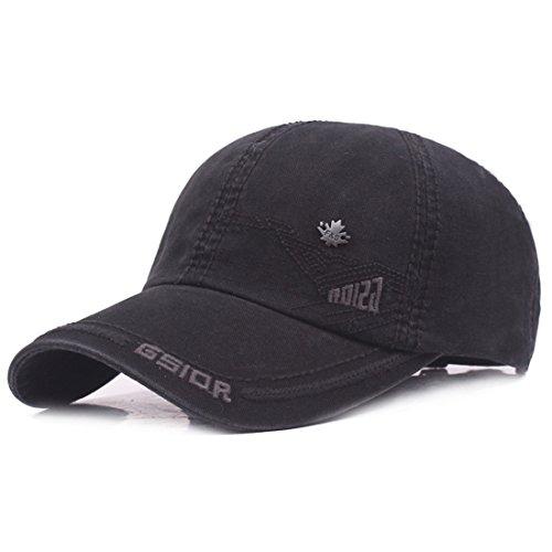 Kuyou Vintage Cotton Basecap Snapback Caps Outdoor Baseball Kappe Mütze (Schwarz)