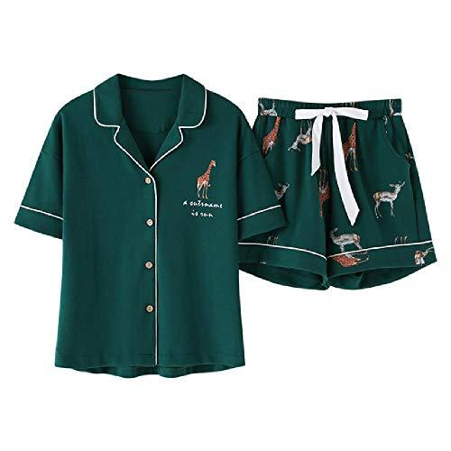Sommer-Pyjama-Sets für Damen, Cartoon-Giraffen-Druck, kurzärmeliges Oberteil + Shorts mit elastischer Taille Gr. 48, Grüner Pyjama