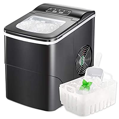AGLUCKY Counter top Ice Maker Machine,Compact Automatic Ice Maker,9 Cubes Ready in 6-8 Minutes,Portable Ice Cube Maker with Scoop and Basket,Perfect For Home/Kitchen/Office/Bar (Black)