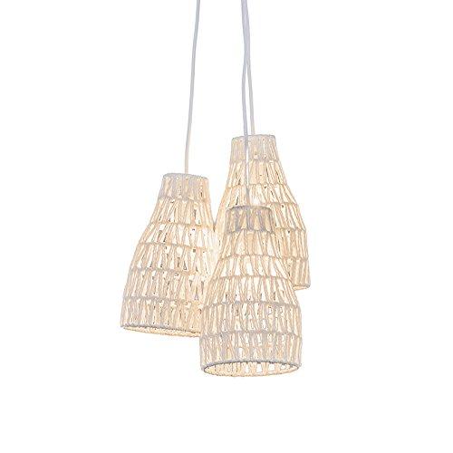 QAZQA Design/Modern/Retro Retro Hängelampe weiß 50 cm - Lina 3-flammig/Innenbeleuchtung/Wohnzimmerlampe/Schlafzimmer/Küche Metall/Textil Rund LED geeignet E14 Max. 3 x 28 Watt