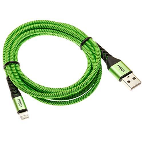 vhbw Cable Lightning a USB Tipo A Compatible con Apple iPad Mini 3, Mini 4, Pro, Pro 9.7 Dispositivo iOS - 2en1 Cable de Carga & Datos Verde 180cm