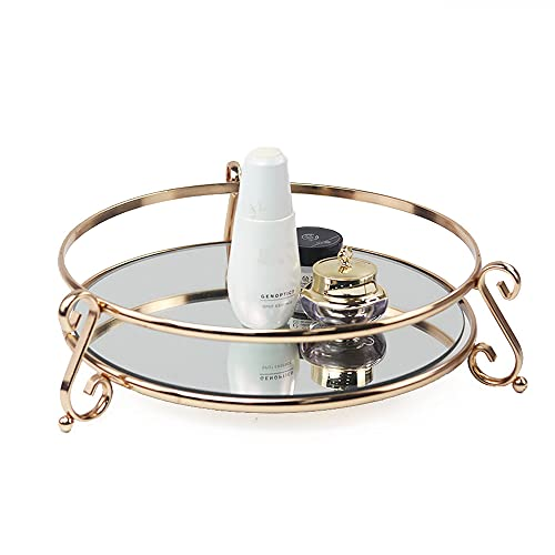 Mirrored Glass Make Up Round Tray Display Tray Cosmetic Vintage Antique Multifunction Decorative Candle Plate Jewelry Storage Organizer Suitable for Bedroom Bathroom and Desktop (Silver)