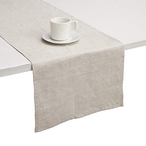 DAPU Reines Leinen Tisch Läufer 100% Französisch Flachs handgefertigt dekorative Abdeckung für Tabelle Fleck resistent natürliche Leinen 40cm×180cm