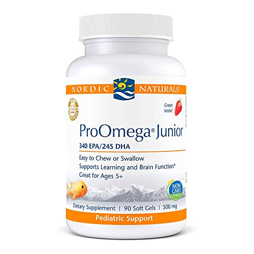 Price comparison product image Nordic Naturals ProOmega Junior,  Strawberry - 90 Mini Soft Gels - 680 Total Omega-3s with EPA & DHA - Supports Learning & Brain Function - Non-GMO - 45 Servings