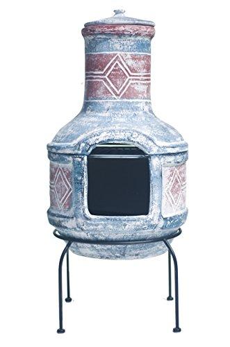Buschbeck Feuerstelle, Aztekenofen Geo Design, blau/rot, 40 x 40 x 85 cm, 90099.000