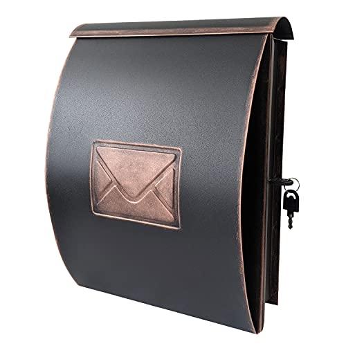 Moderner Wandbriefkasten mit Zeitungsfach Metall Schwarz/Kupfer Postkasten Mailbox Zeitungsrolle Zeitungsbox