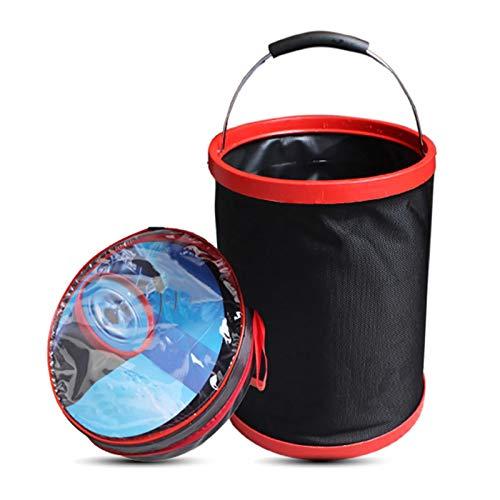 Qians 12L Cubeta Plegable Agua Portátil Cubo De La Pesca De 2000D Oxford del Paño con El Bolso Redondo,para Acampar para Viajar Senderismo Pesca Jardinería Lavado De Autos Modern