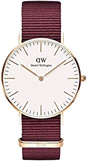 Daniel Wellington DW00600271 Fabric-Band White-Dial Round Analog Unisex Watch - Maroon