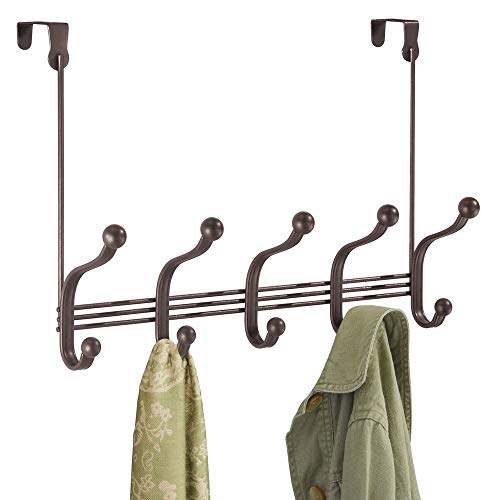 mDesign Decorative Over Door 10 Hook Steel Storage Organizer Rack for Coats, Hoodies, Hats, Scarves, Purses, Leashes, Bath Towels, Robes, Men's and Women's Clothing - Bronze