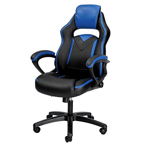 Gaming Chair ——PU Leather Fabric/Adjustable Height Gas-Spring/New Designed headrest (Blue) chair gaming