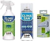 Trattamento Sanificante Igienizzante Completo Climatizzatori Climasan Igienizzante + Detergente + Profumatore Varie Fragranza (Mela Verde)
