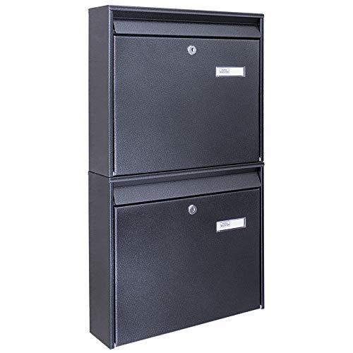 Burg-Wächter Briefkastenanlage 2 Fach | 64,4 x 36,2 x 10cm groß Stahl anthrazit schwarz DIN A4 | Briefkasten Set 2 Briefkästen mit Namensschild, 2 Schlüssel, Montagematerial