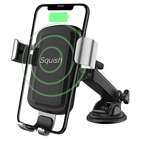 Squish Wireless Charger Car Phone Mount, Qi Wireless Car Charger, Wireless Charger Phone Holder Dashboard Windshield for iPhone, Samsung, Moto, Huawei, Nokia, LG, Smartphones