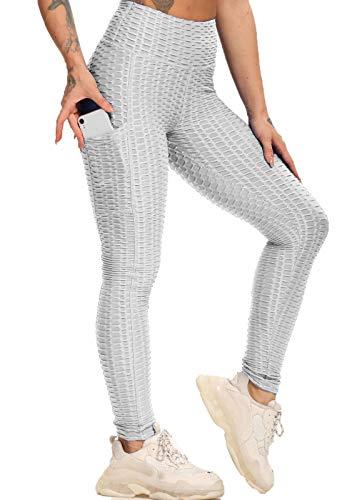 FITTOO Legging Sport Avec Poches Latérales Femme Pantalon Slim Anti-Cellutite Taille Haute Pour Yoga Gym Fitness Pilates Running