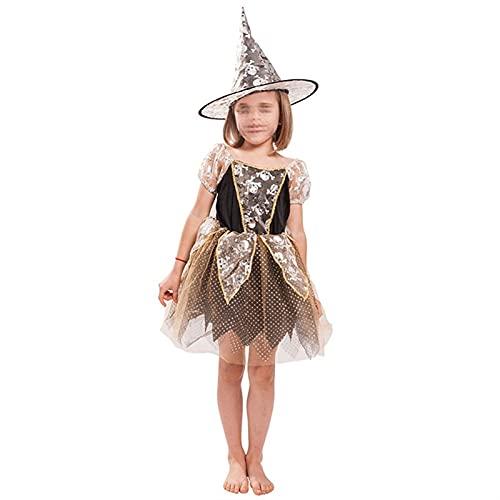 YUHUA-SHOP1983 Vestido de Bruja Linda de Cuento de Hadas para niñas, 3-14T, Manga Corta Tutu Vestido de Tutu + Sombrero 2pcs (Color : Black, Size : X-Large)