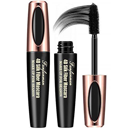 2PCS 4D Silk Fiber Eyelash Mascara,Extra Long Lash Mascara and Thick, Long Lasting, Waterproof & Smudge-Proof Eyelashes