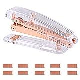 Grapadora de escritorio de acrílico transparente de oro rosa con 1000 grapas de oro rosa para el hogar, la escuela, la oficina, suministros de papelería, accesorios de escritorio