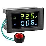 AC Current Meter, DROK 80-300V 100A Digital Multimeter Voltmeter Ammeter, LCD Display Voltage Amperage Detector Volt Amp Tester Monitor Gauge Panel with Current Transformer CT