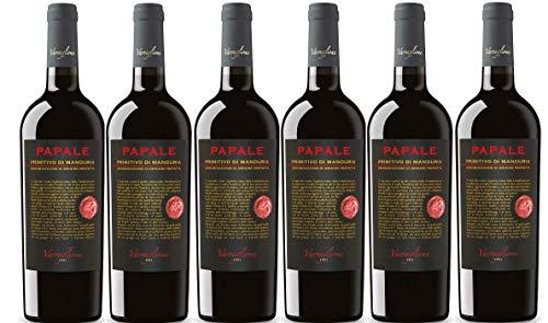 6er Vorteilspaket Papale Primitivo di Manduria DOP 2017 | Varvaglione | Rotwein aus Apulien | 6 x 0,75l