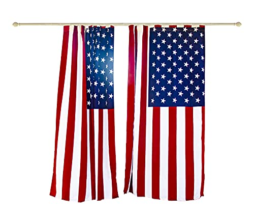 Outdoor Curtains Blackout Thermal American Flag Decor Panels USA US Patriotic Window Draperies for Living Room Divider 52x84 Inch 1 Panel