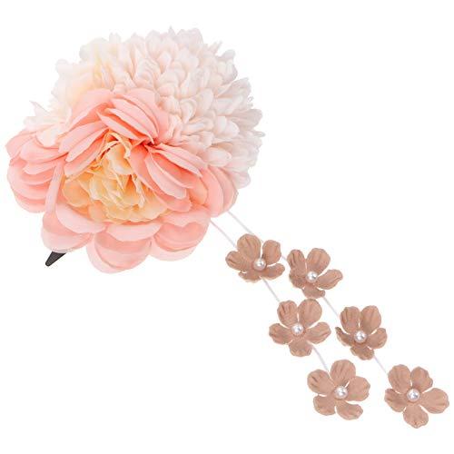 SOLUSTRE Niñas Corona de Flores Horquillas para El Pelo Hecho a Mano Corona Flor Vid Princesa Accesorio de Cumpleaños (Rosa)