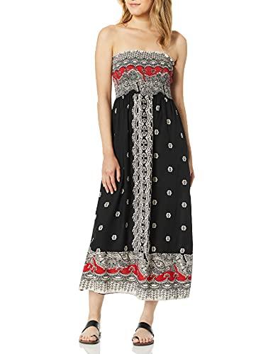 Angie Women's Printed Smocked Bodice Strapless Maxi Dress, Black, Medium