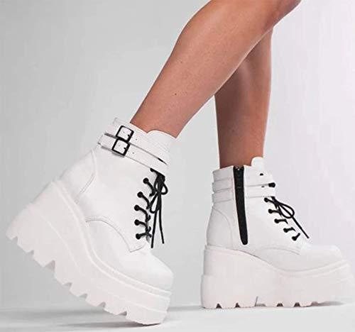 XHHXPY Damen Plateau Gothic Schnürstiefeletten Blockabsatz High Heels Biker Boots Punk Gefüttert Schuhe britischer Stil Größe 35-43,Weiß,38