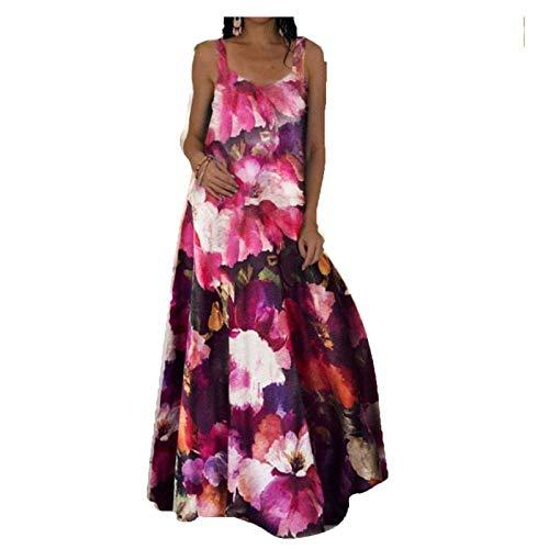 WYBD - Vestido largo de verano para mujer, talla grande, estilo bohemio, estilo bohemio 05-rojo M