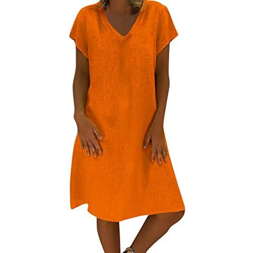 Lulupi - Vestito da donna in lino, elegante, lunghezza al ginocchio, scollo a V, casual, a maniche corte, estivo, taglie forti Colore: arancione. XXXL