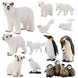 jojofuny 12 Piezas de Figuras de Pingüinos Realistas Juego de Figuras de Osos de Juguete de Animales Polares Variedades de Adornos de Animales de Oso Pingüino