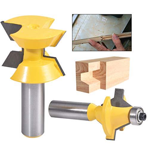 HOHXEN Juego de herramientas para cortar la lengua de 1,27 cm con vástago de 120 grados para carpintería