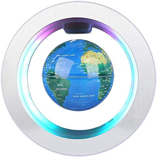 HURRISE Globo magnético de la levitación Globo de rotación del Mapa del Mundo con Luces LED Tierra Globo para Decoración de Escritorio Regalo de Cumpleaños de Navidad los niños Regalo 4 Pulgadas