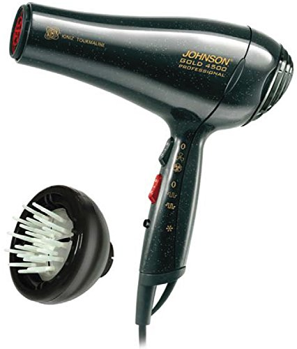 JOHNSON ELETTRODOMESTICI 4500 Gold 2200W Negro - Secador de pelo (Negro, Con agujero en la empuñadura para colgar, 3 m, 2200 W)