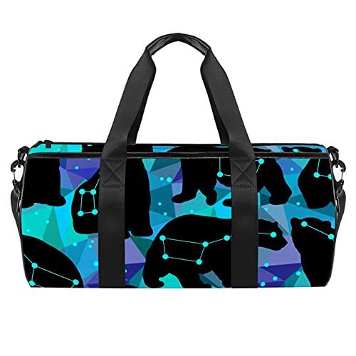Ursa Major and Silhouettes of The Bears - Borsone cilindrico da viaggio con tasca bagnata, leggero, con tracolla per uomo e donna