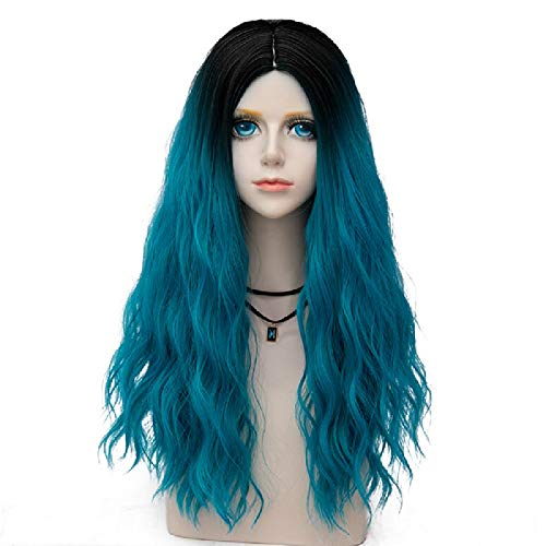 Miracle Collection Ombre Dark Root Long Curly Women Lolita Anime Cosplay Wig(60cm, Lake Blue F5)