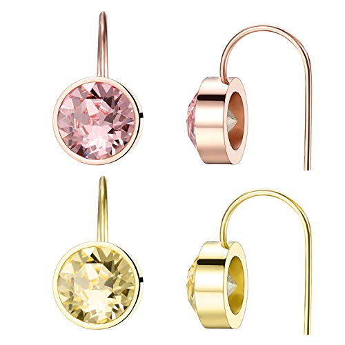 VOJO 2 Pairs Hypoallergenic Dangle Earring Set Two Tone 14K Gold Plated Pink Crystal Earrings for Women