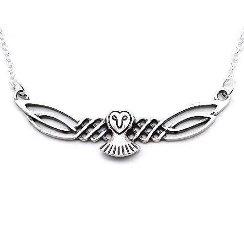 HAQUIL Owl Necklace - Metal Alloy, Classic Celtic Owl Pendant - Cable Chain 23.6'