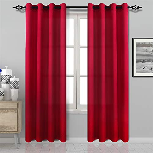 DWCN Red Curtain Faux Linen Country Modern Style Draperies 8 Grommets Window Curtain Panel 52x84 inch (Set of 2 Panels) Curtains for Bedroom/Kitchen/Dinning Room/Living Room
