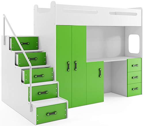 Interbeds MAX 4 - Cama Alta (200 x 80 cm, con Armario y Escritorio, Incluye colchón) verde