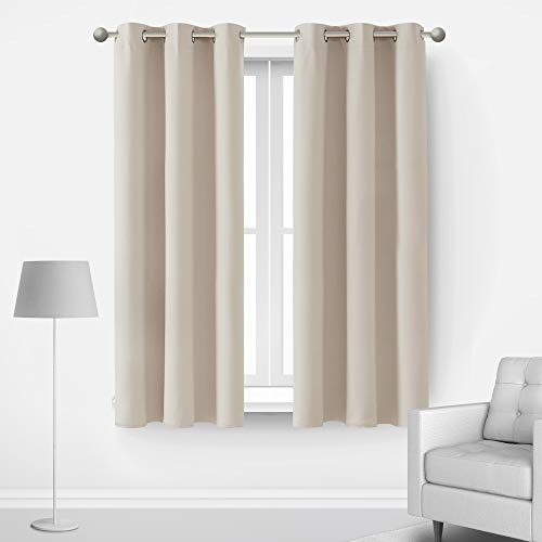 Deconovo Set of 2 Blackout Curtains for Bedroom Thermal Insulated Room Darkening Light Noise Blocking Drape for Home Dorm Studio Apartment Office Small Indoor Windows, 2 Panels, 42x45 in, Light Beige