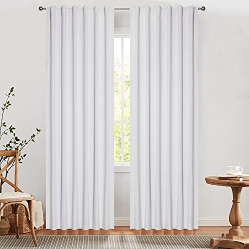 West Lake Solid White Blackout Curtain Panels 100% Light Blocking Three Layers Thermal Insulated Back Tab Rod Pocket Window Drapes for Living Room,Bedroom,Nursury Greyish White 52''x84'', Set of 2