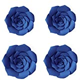 YLY's love 3D Paper Flower Decorations Giant Paper Flowers Party DIY Handcrafted Paper Flowers for Wedding Backdrop Bridal Shower Baby Shower Nursery Wall Home Decor (Royal Blue, 4pcs-8in,12in)